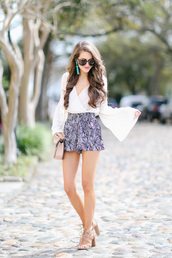 southern curls and pearls,blogger,top,shorts,shoes,sunglasses,jewels,bag,make-up,bell sleeve top,bell sleeves,white top,long sleeves,black and white shorts,High waisted shorts,sandal heels,sandals,nude sandals,nude bag,shoulder bag,summer outfits