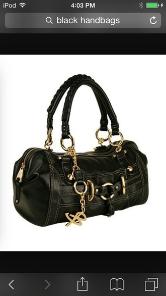 bag black and gold purse black leather bag