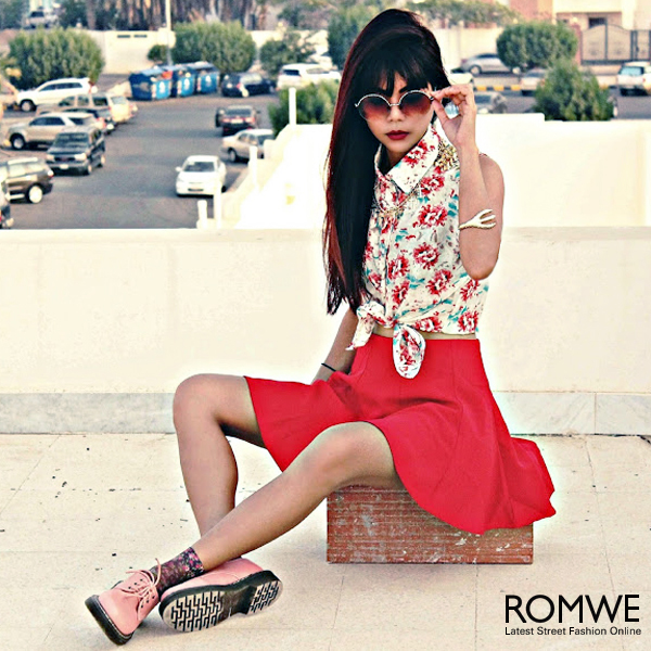 ROMWE | Riveted Floral Print Shirt, The Latest Street Fashion