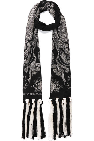 scarf print black silk paisley