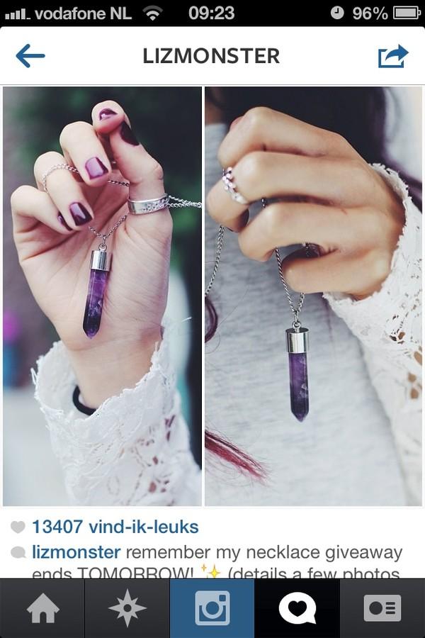 jewels purple bracelets stone necklace stone moon silver