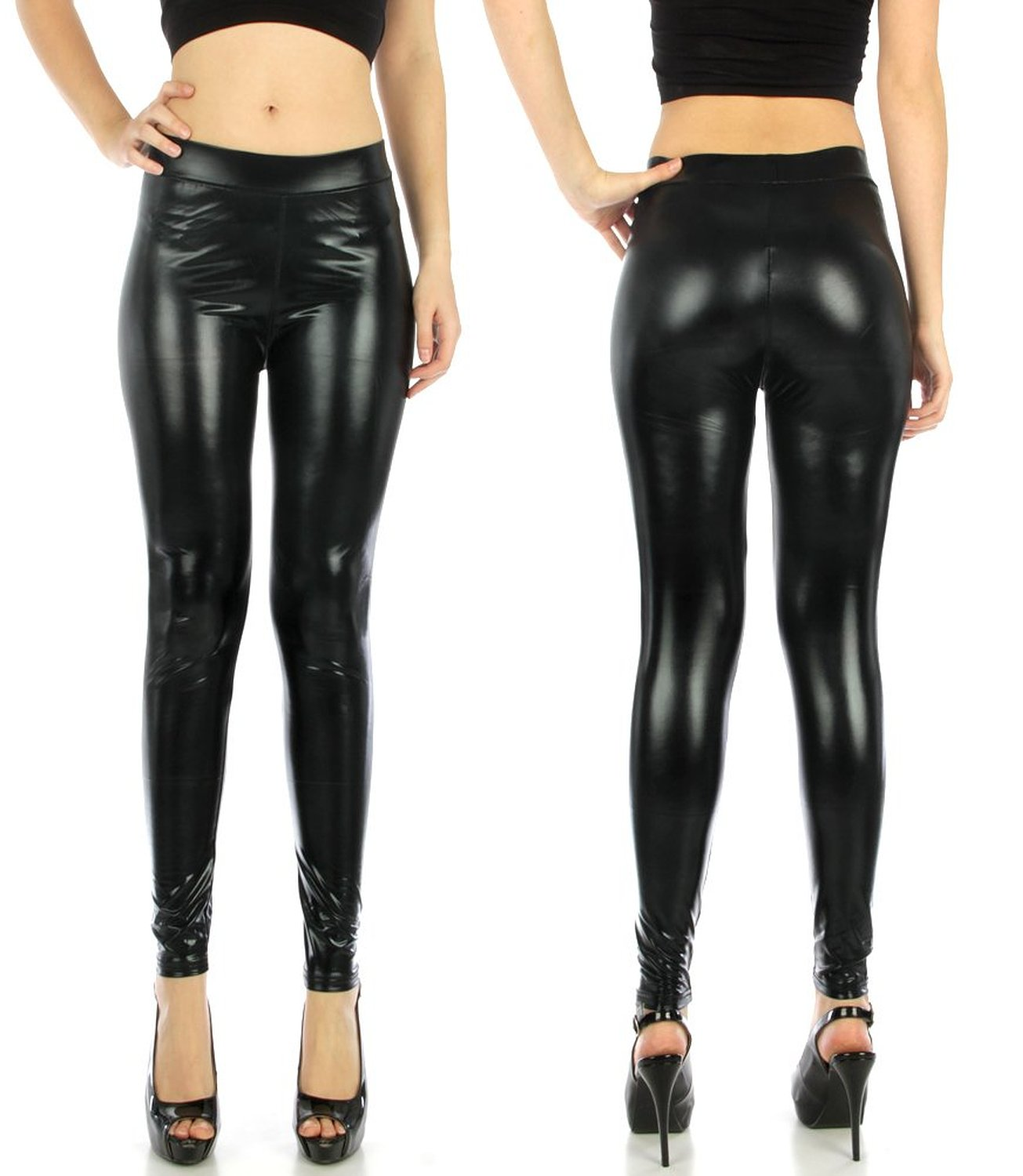 She S Women S Plus Size Shiny Stretch Liquid Look Leggings One Size