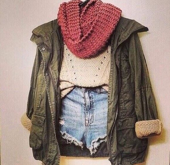 green summer cute girly blue shirt red jacket jean jacket omg dark green scarf shorts tan holes lines knitted buttons pockets winter spring fall
