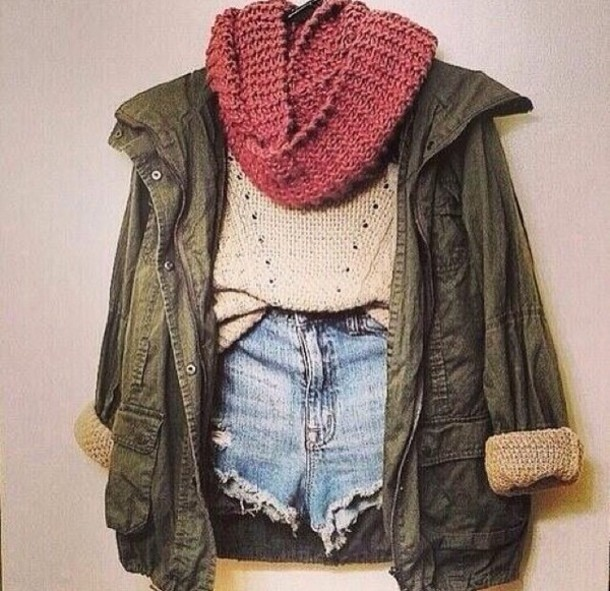 Jacket: denim jacket, green, cute, dark green, girly, scarf, shirt ...