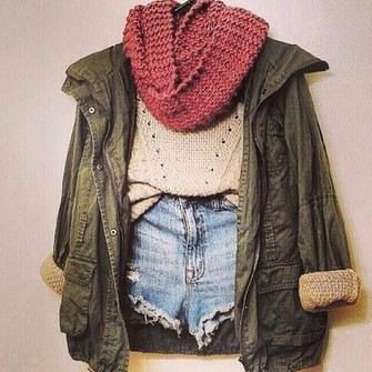 red scarf cute jacket shirt shorts fall outfits tan knitwear blue winter outfits girly summer outfits spring green denim jacket omg dark green holes lines buttons pockets scarf red