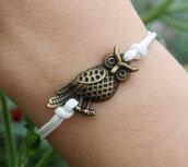 jewels,owl,bracelets,owl bracelet,vintage,charm,girl,women,white,leather bracelet