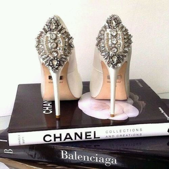shoes high heels glitter bling silver gold white chanel rhinestones