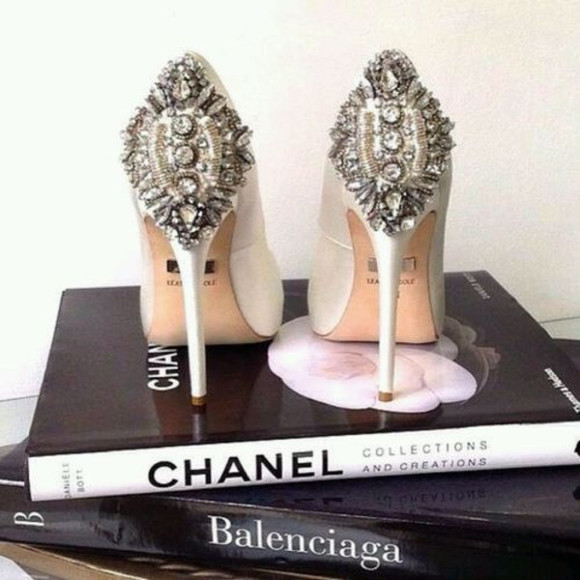 gold glitter shoes silver white rhinestones high heels bling chanel