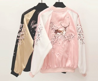 jacket pink black stripes baseball jacket bomber jacket black jacket deer animal face print flowers shiny warm embroidered