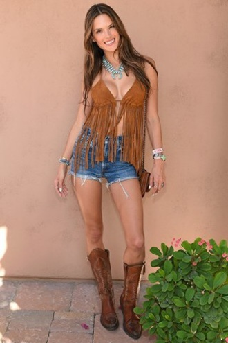top shorts jeans summer alessandra ambrosio hippie fringes shirt tank top