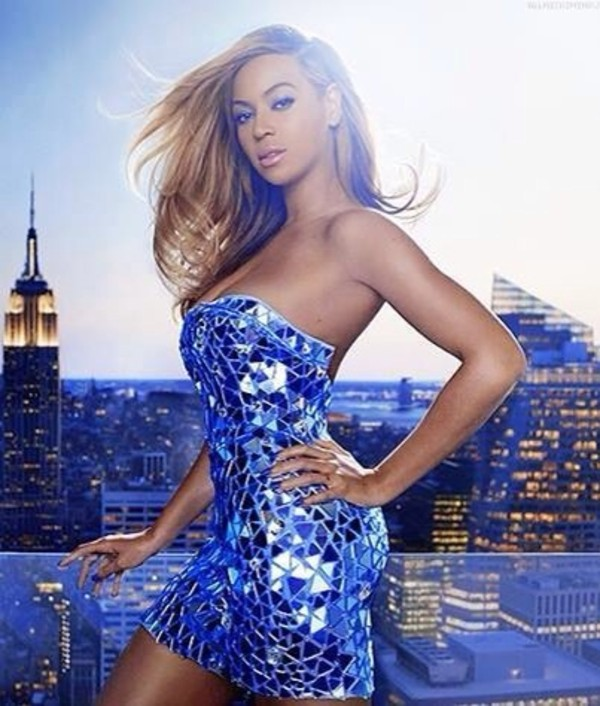 dress beyonce celebrity style blue dress short dress shiny gorgeous shades celebrity style prom dress