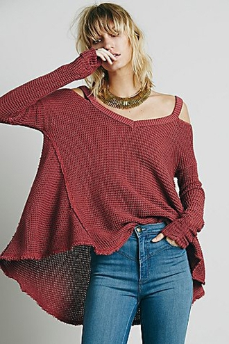 sweater red knitwear warm cozy fashion style cool oversized sweater fine knit jumper burgundy jumper cardigan off the shoulder cold shoulder strappy top outerwear clothes fall sweater outfit irregular cut-out hollow knitted sweater streetstyle zaful