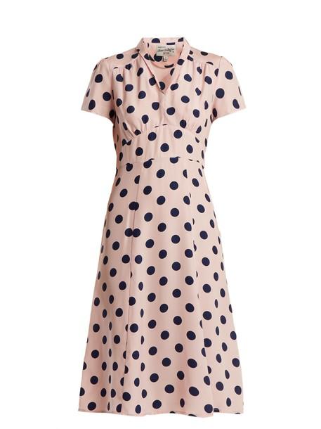 hvn dress silk dress print silk light pink light pink