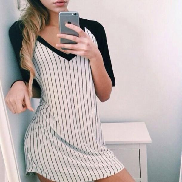 dress black white tunic