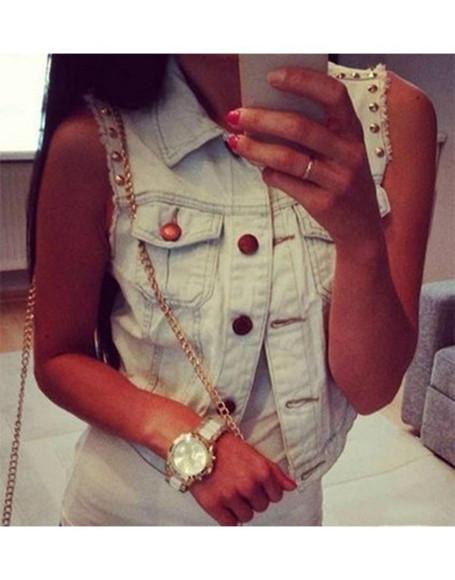 jacket denim vest jeans sleeveless wow luxury blogger trend elegant