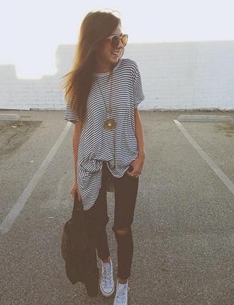 striped shirt oversized shirt t-shirt
