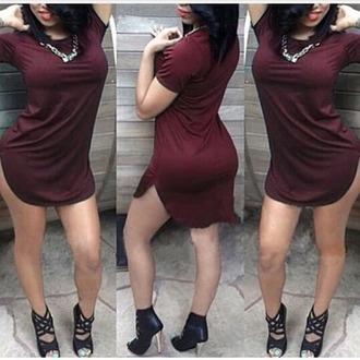 dress purple tight burgandy dress short dress shoes