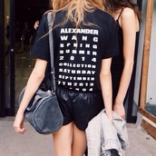 t-shirt,bag,shirt,alexander wang,black,shorts,fashion show,2014,black shirt,black shorts,leather,hipster,indie,cute,nice,pretty,black t shirt,fashion,Taylor hill,model,trendy,words on shirt,word tshirt,writing on back tshirt,black and white