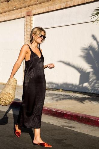 dress maxi dress black dress shoes mules sunglasses bag straw bag slip dress
