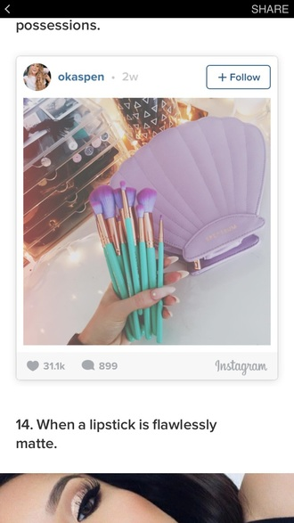 make-up teal lavender makeup brushes teal/ mintgreen