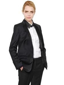 Wool gabardine tuxedo jacket