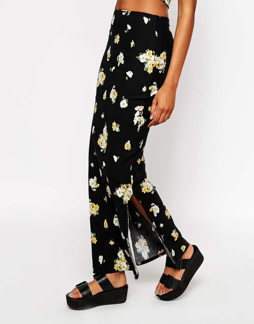 Motel maxi skirt with split in dark floral print at asos.com