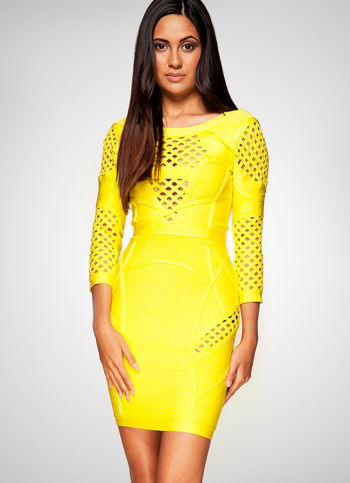 Bqueen Yellow Halter Long Sleeve Sexy Bandage Dress H662