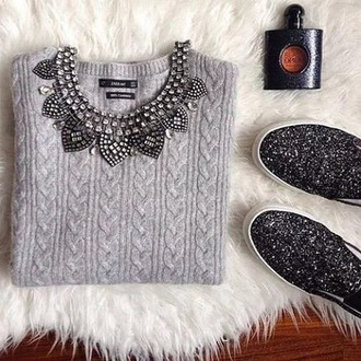 sweater zara pullover grey collier paillettes