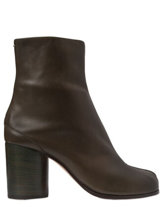 leather ankle boots boots ankle boots leather dark green shoes