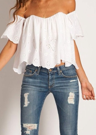 blouse white top white crop tops off the shoulder top off shoulder crop top top