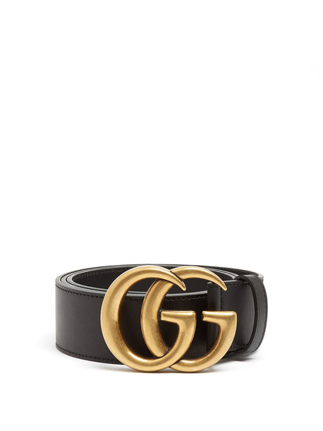 ec2d4dd85bfc GUCCI GG-logo 4cm leather belt in black - Wheretoget