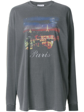 sweatshirt paris women cotton print grey sweater