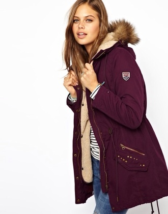 jacket burgundy red brown parka anarok