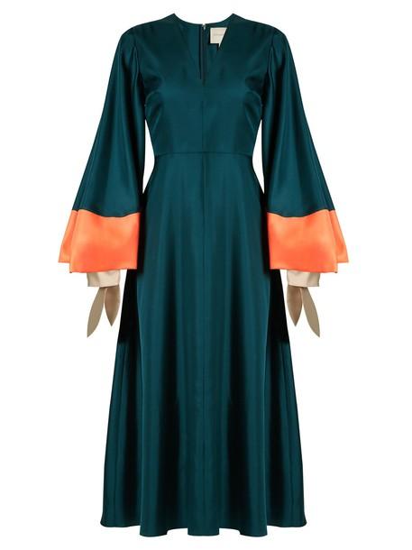 Roksanda dress midi dress midi satin dark green