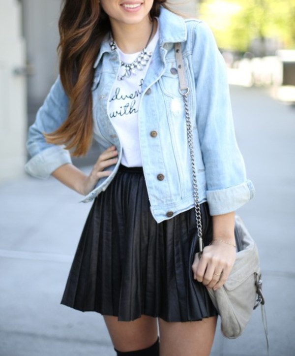 skirt leather skirt black skirt denim jacket jacket purse t-shirt