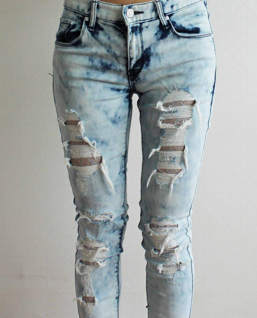 distressed ripped tie dye blue skinny jeans lace lined