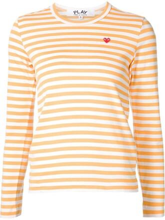 t-shirt shirt striped t-shirt heart mini yellow orange top