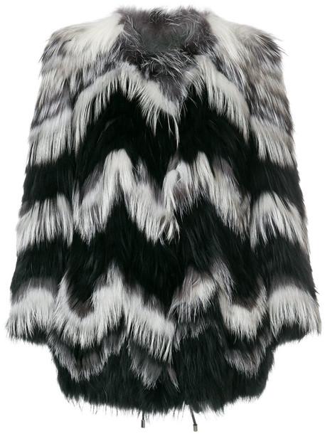 Yves Salomon coat short fur fox women spandex