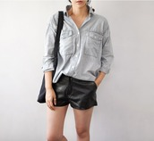 shorts,leather shorts,black shorts,shirt,grey shirt,bag,black bag