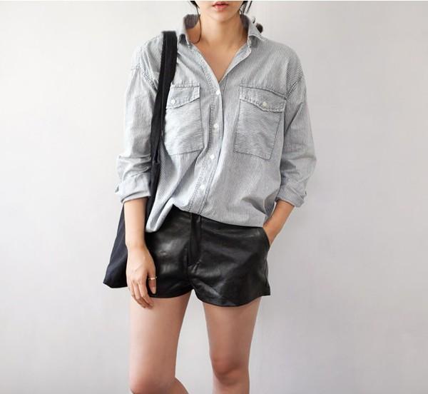 shorts leather shorts black shorts shirt grey shirt bag black bag