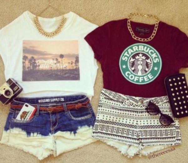 t-shirt blouse shorts necklace sunglasses handbag