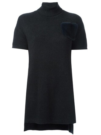 jumper turtleneck fur women silk grey sweater
