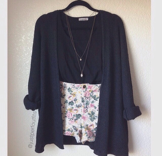 jacket shorts florals sweater cardigan navy colorful hipster indie cute girl fashion spring outfits summer outfits jewels
