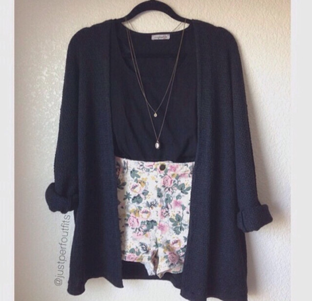 Jacket: shorts, florals, sweater, cardigan, navy, colorful ...