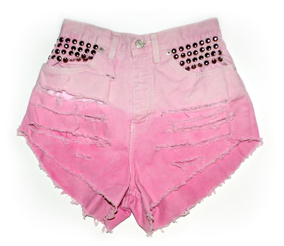 All sizes pink ombre studded and distressed high by burdazi