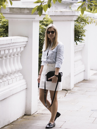 style and minimalism blogger shirt skirt shoes bag sunglasses jewels underwear white skirt black bag loafers summer outfits