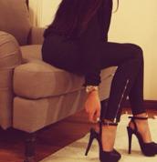 shoes,high heels,platform shoes,black high heels,slingback heels,pants,jeans,black heels,black stilettos,heels,fancy,accessories,style,leggings,black shoes,black side zipper jeggings