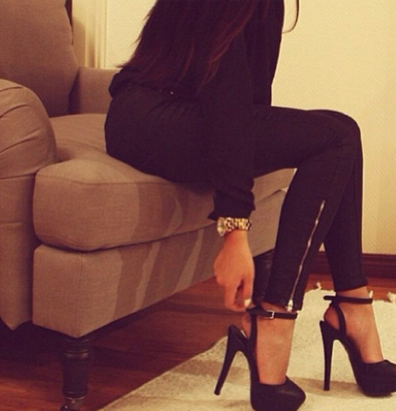 shoes black heels black stilettos high heels platform shoes black high heels slingback heels pants