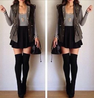 jacket socks knee high socks shoes heels black bag midi skirt black skirt jewelry stripy top