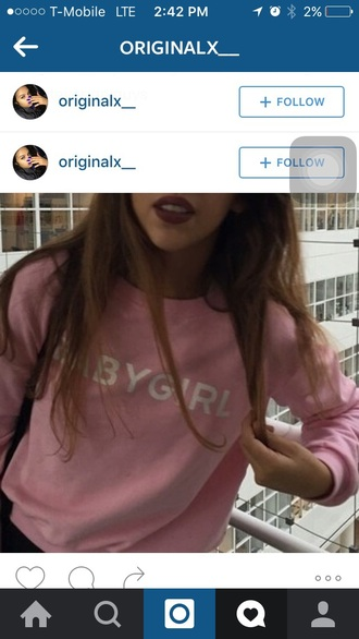 sweater pink hoodie cute baby girl bad bitches link up sweatshirt